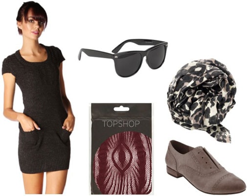 How to wear a Papaya sweater dress with a leopard scarf, patterned tights, and oxfords