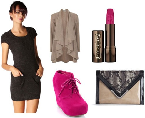 How to wear a Papaya sweater dress with hot pink shoes and statement accessories for a night out