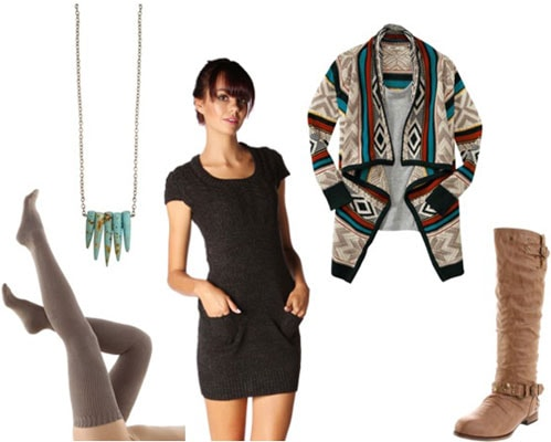How to wear a Papaya sweater dress with thigh-high socks, a geometric cardigan, colorful necklace, and boots