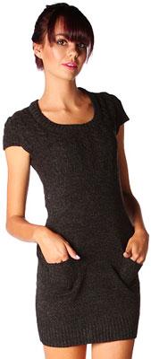Papaya simple round neck sweater dress