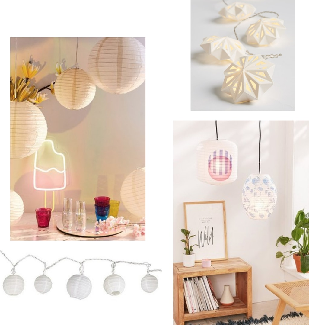 Paper lanterns for your dorm room in white, cream, printed, and string light forms