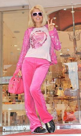 Paris Hilton in a pink juicy couture tracksuit