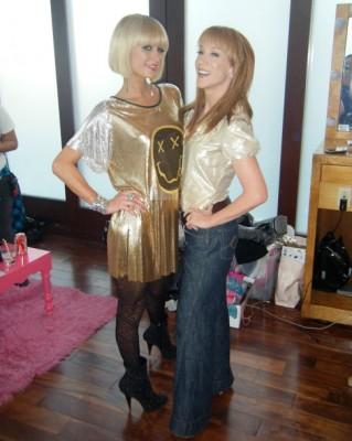 Paris Hilton wearing a Haleh Nematzadeh Dazed and Confused T-Shirt Dress