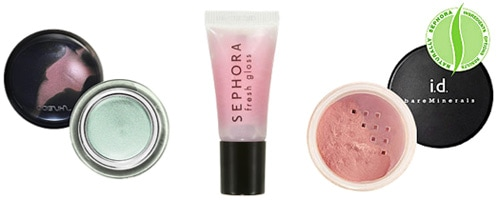 Paris-Inspired makeup in light colors: Sephora Lip Gloss, Shiseido eyeshadow, and Bare Escentuals blush
