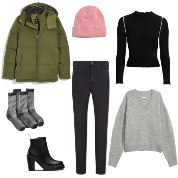 How to wear a parka and still look stylish: Outfit with green parka, dark wash skinny jeans, gray oversized sweater, black henley, millennial pink beanie, cozy wool socks, high heeled black ankle booties
