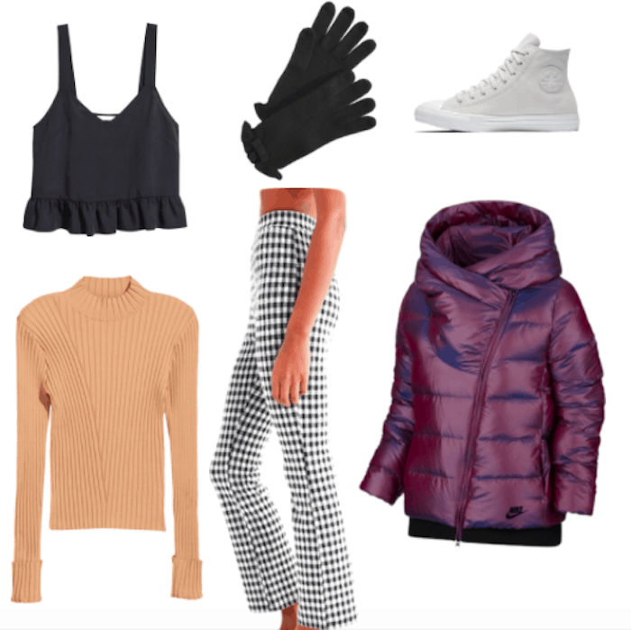 How to wear a parka and still look stylish: Outfit idea with purple parka, plaid pants, black ruffle crop tank, ribbed camel colored sweater, black ruffle gloves, gray high top Converse sneakers