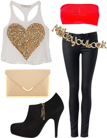 Partier outfit: Glitter heart tank, red bandeau, envelope clutch, ankle booties, coated jeans