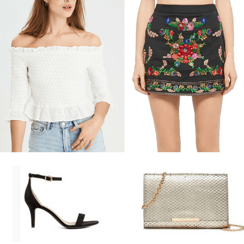 It's official, I'm OBSESSED with embroidery! If you're going on a pub crawl after finals, try out this floral embroidered black skirt with a white off-the shoulders eyelet blouse. To add some bling, don't leave your metallic cross-body bag at home.