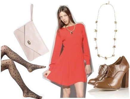 Holiday party outfit 1: Red long sleeved dress, ankle booties, tights, creme clutch