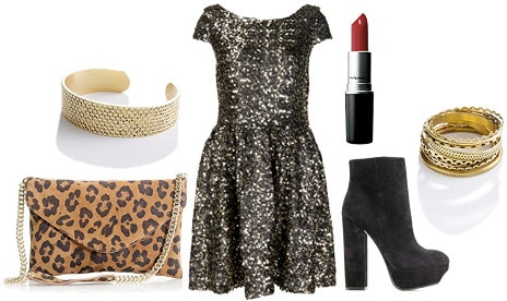 Holiday party outfit 5: Shimmery dress, leopard bag, ankle boots