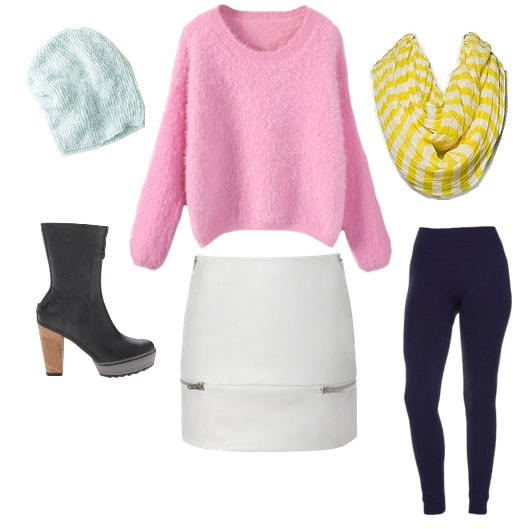 Pastel and pleather in winter