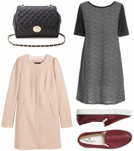 Pastel coat and striped dress