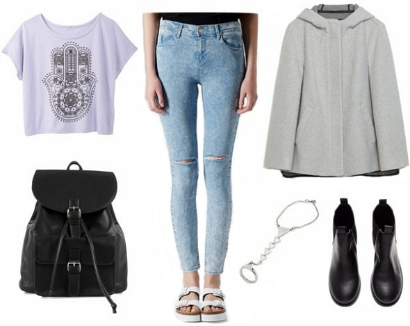 Pastel coat jeans and graphic tee