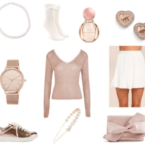 Pastel and rose gold outfit for spring: White pleated mini skirt, blush pink v-neck sweater, rose gold sneakers, rose gold watch, rose gold and pearl headband, Michael Kors heart earrings in rose gold, white ruffle socks, pearl necklace, bow clutch