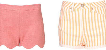 pink scallop shorts and orange striped shorts