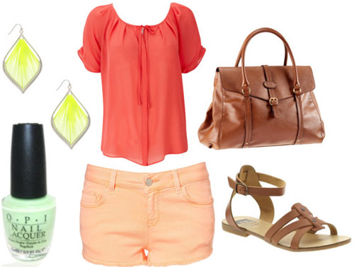 How to wear peach pastel shorts for day with a coral tee, brown satchel, leather sandals, bright earrings and mint nail polish