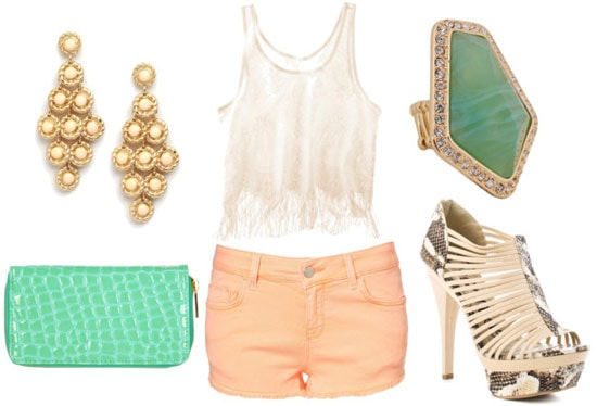 How to wear peach pastel shorts for night with a shredded white tank, turquoise and green accessories, and strappy heels