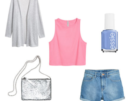pastel colors with sparkle purse