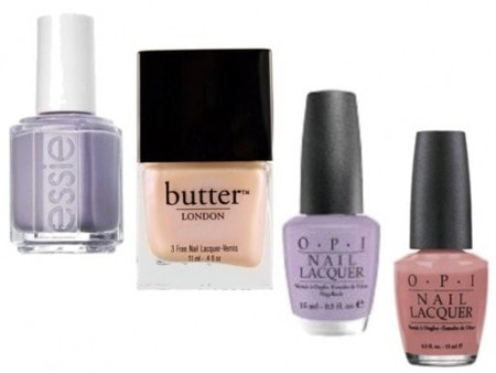 Pastel nail polish - Essie Nice is Nice, butter London Hen Party, OPI Done Out in Deco, and OPI Dulce de Leche