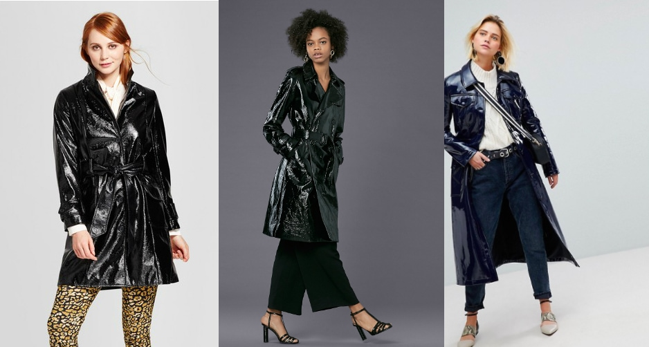 Patent leather trench coat trend (from left to right): a faux patent black trench from Target, a forest green long coat from DVF, and a navy blue extra-long trench from ASOS.