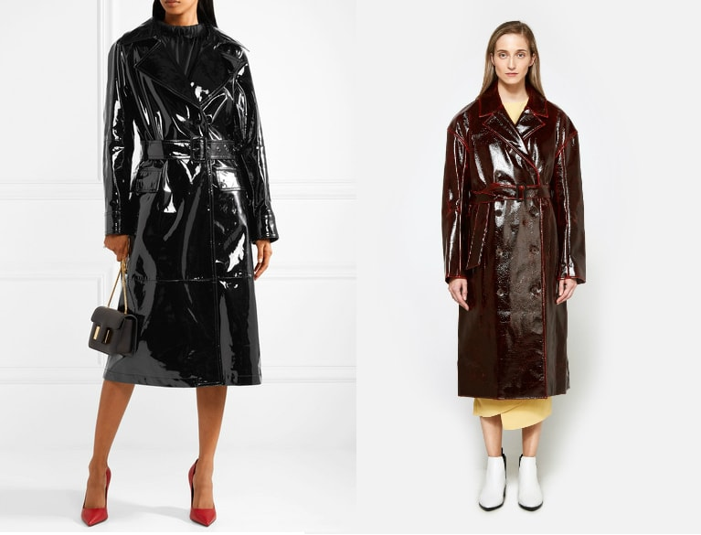 Patent trench coat trend (from left to right): long black patent TOM FORD F/W '17 trench coat and a double breasted oxblood Tibi trench coat with bright red piping.