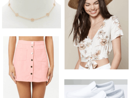 pink floral crop button down top, dainty gold necklace, pink button down skirt, white vans