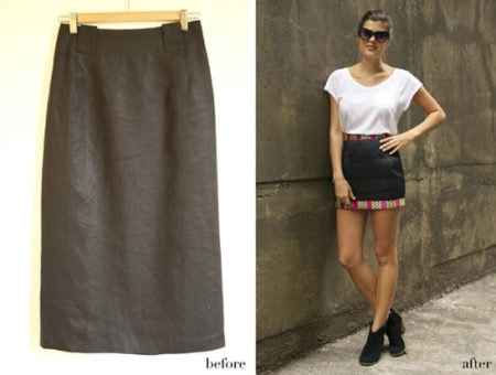 DIY Pattern Trim Skirt: Before and after