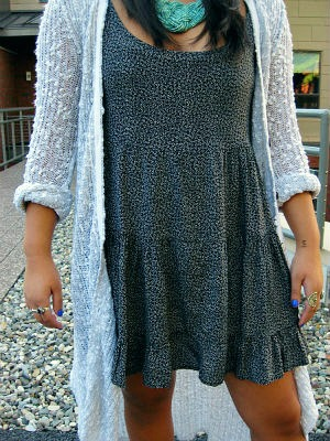 Patterned dress and long cardigan street style