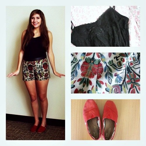 Patterned high waisted shorts outfit