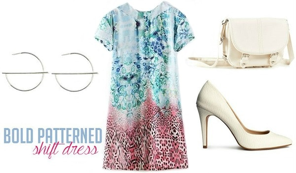 Patterned shift dress outfit