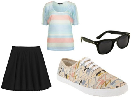 How to wear patterned sneakers with a black skirt and striped tee