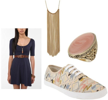 How to wear patterned sneakers with a blue dress and statement necklace