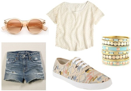 How to wear patterned sneakers with denim cutoffs and a cute tee