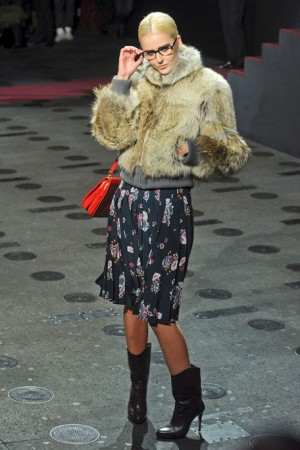 Paul and Joe Floral Skirt with Fur