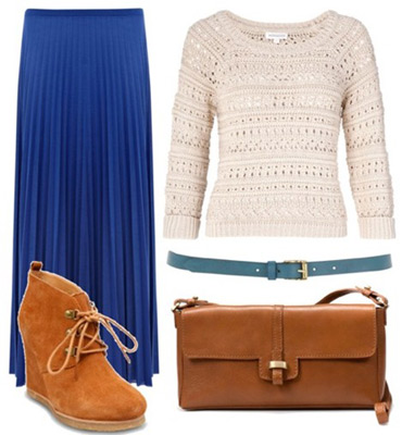 Paul and Joe Fall 2011 Inspired Outfit 1: Blue maxi skirt, creme knit sweater