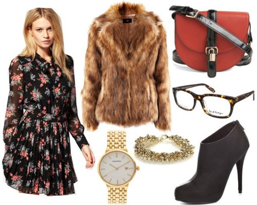 Paul and Joe Fall 2011 Inspired Outfit 2: Printed dress, fur jacket, ankle booties