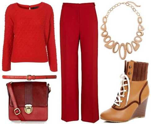 Paul and Joe Fall 2011 Inspired Outfit 3: Red pants, red sweater, bed bag