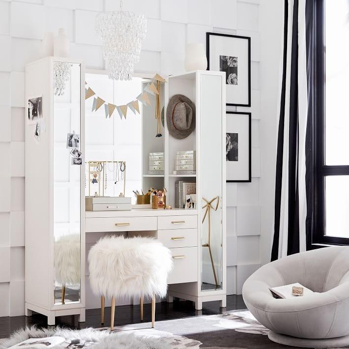 PB Dorm vanity and chair
