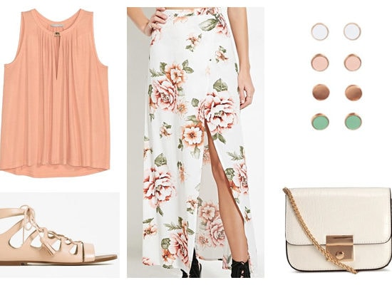 Peach and floral maxi skirt spring outfit