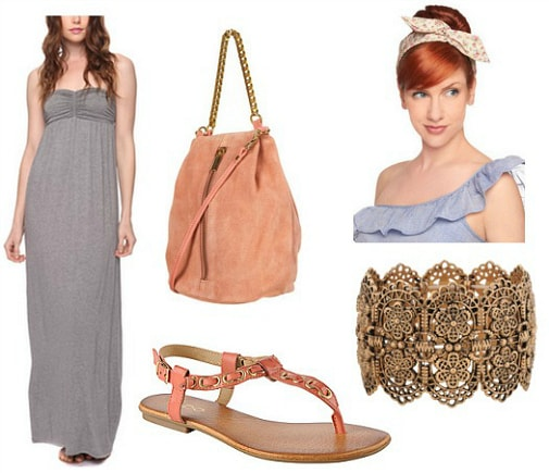 peach and gray outfit 3