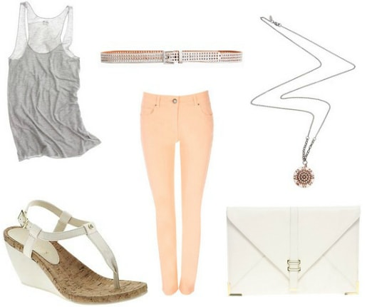 peach and gray outfit 4