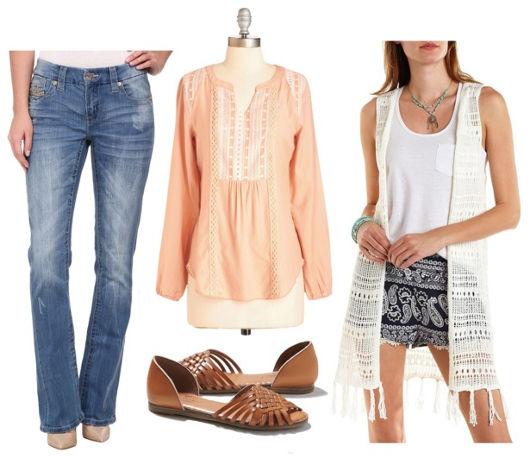 peach blouse, flared jeans, crochet vest, flats