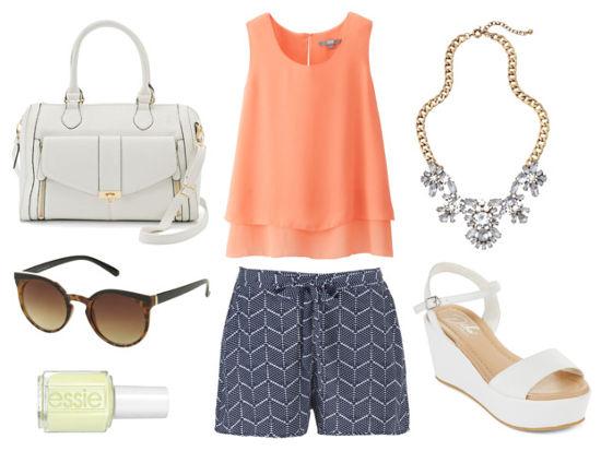 peach blouse, printed shorts, white sandals
