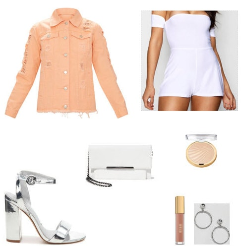 Peach denim jacket with white romper, white & silver Steve madden clutch, metallic silver ankle strap heels, nude milani lipstick, black sunglasses with pearl outlining, summer glow highlight, and silver hoop earrings.