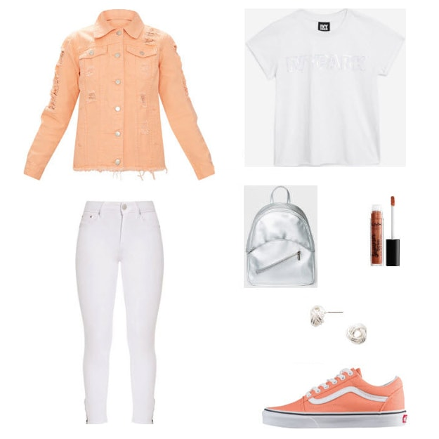 Class to night out peach denim jacket style with white denim jeans, white ivy park shirt, metallic silver backpack, silver studs, peach sneakers, and nyx lip veil