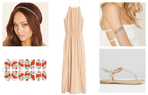 Peach maxi dress with headband spring outfit