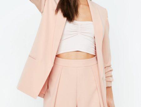 Peach ruched sleeve blazer