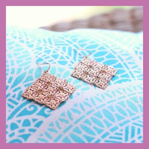 Peachy gold chandelier earrings from Francesca's