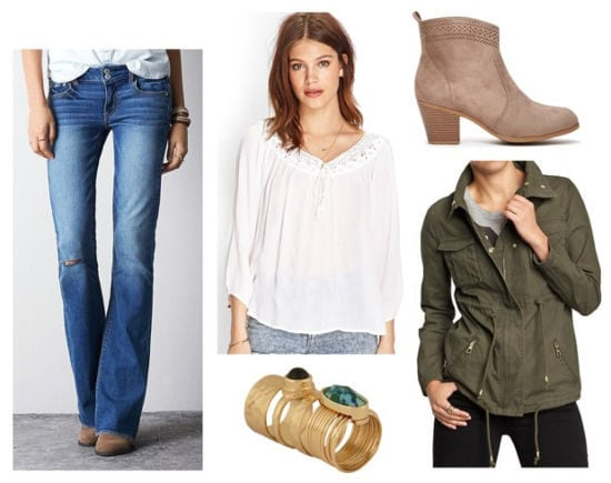 peasant blouse, flared jeans, anorak, booties