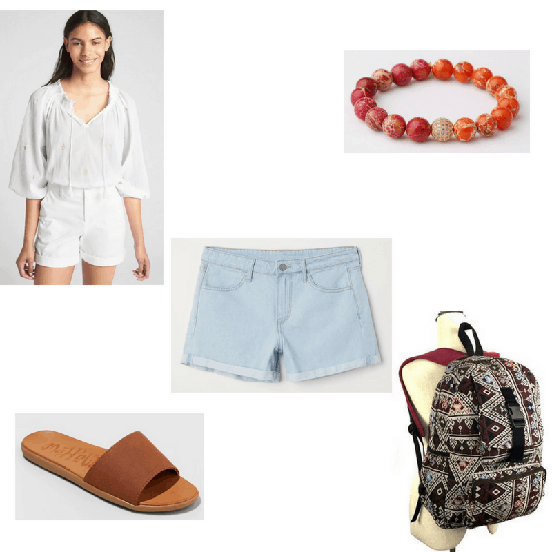 Outfit with peasant top, light denim shorts, orange/red beaded bracelet, brown slides, and tribal printed backpack